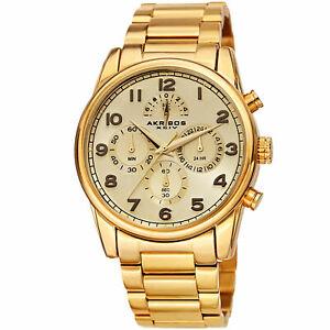 【送料無料】腕時計 メンズクロノグラフゴールドステンレススチールブレスレットmens akribos xxiv ak1042yg chronograph gold stainless steel bracelet watch