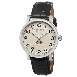 【送料無料】腕時計  mens akribos xxiv ak633ssw ampm indicator genuine leather strap watch