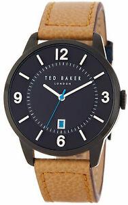 【送料無料】腕時計 テッドベーカーロンドンメンズスチールアナログブラウンレザーウォッチストラップ