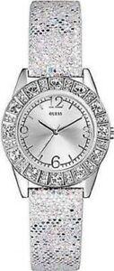 【送料無料】腕時計 シルバースパンコールタグウォッチ authentic guess u0088l1 women silver shiny sequin leather watch w tag
