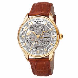 【送料無料】腕時計 #スケルトンゴールドトーンブラウンレザーウォッチmen039;s akribos xxiv ak807yg goldtone automatic skeleton brown leather watch
