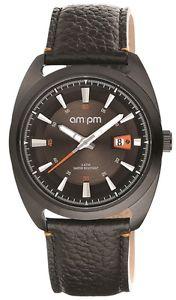 【送料無料】腕時計 #ブラックスチールケースブラックレザーストラップ