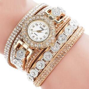 【送料無料】腕時計 レザーブレスレットラインストーンウォッチwomen039;s pu leather rhinestone watch bracelet quartz watch