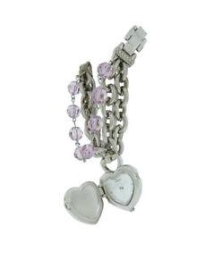 【送料無料】腕時計 プチラベンダービーズペンダントシルバーアナログguess 95216l1 womens petite lavender beads silver tone pendant analog watch