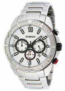 【送料無料】腕時計 エベレストメンズクロノグラフウォッチシルバーホワイトeverest mens es30081 chronograph watch silver tone white