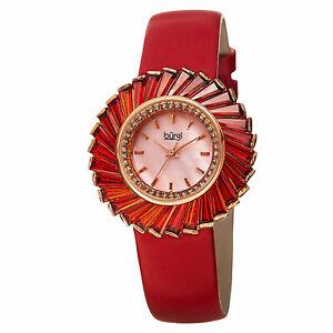 【送料無料】腕時計 #バールスイスピンクウォッチ women039;s burgi bur114rd swiss pink motherofpearl red genuine leather watch