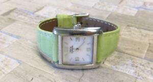 【送料無料】腕時計 シグネチャ#ライムグリーンレザーストラップsterling signatures silver women039;s wristwatch w lime green leather strap 8h7553
