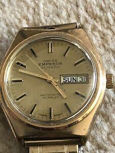 【送料無料】腕時計 ビンテージスイスカレンダーgents vintage swiss emperor 25 jewels self winding day date calender watch