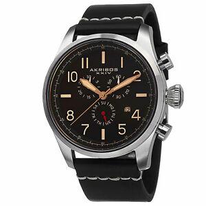 【送料無料】腕時計 スイスクロノグラフブラックレザーストラップウォッチ