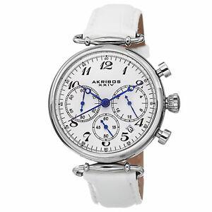 【送料無料】腕時計  womens akribos xxiv ak630ssw quartz chronograph white leather strap watch