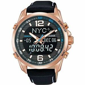 【送料無料】腕時計 パルサーローズメッキケースブラックレザーストラップメンズウォッチ¥