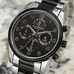 【送料無料】腕時計 メンズクロノグラフトーンステンレススチールブレスレットmens akribos xxiv ak1042ttb chronograph two tone stainless steel bracelet watch