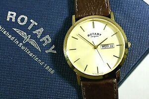 【送料無料】腕時計 メンズロータリーウィンザークォーツブラウンストラップウォッチmens rotary windsor gold plated quartz brown strap watch