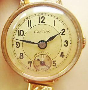 【送料無料】腕時計 アールデコスイスミクロンブレスレットポンティアックウォッチart deco swiss ladies 20 microns gold plated pontiac bracelet watch for