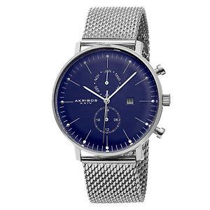 【送料無料】腕時計 メンズスイスクオーツステンレスメッシュウォッチmens akribos xxiv ak685ssbu swiss quartz daymonth stainless steel mesh watch
