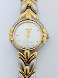 【送料無料】腕時計 エルジンレディースラウンドトーンゴールドシルバーリンクステンレススチールウォッチelgin womens round 2 tone gold silver link stainless steel water resistant watch
