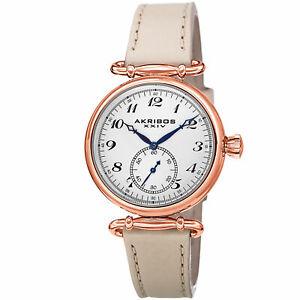 【送料無料】腕時計 スイスクォーツレザーストラップウォッチwomens akribos xxiv ak704tnrg small seconds swiss quartz leather strap watch