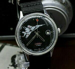 【送料無料】腕時計 メンズヴィンテージソスラパイロットプランvintage soviet watch slava plane pilot movement 2414 mens wristwatch sl06