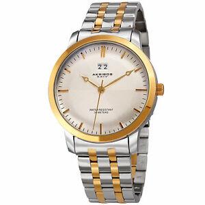 【送料無料】腕時計 トーンステンレススチールブレスレットmens akribos xxiv ak997ssbu two tone date stainless steel bracelet watch