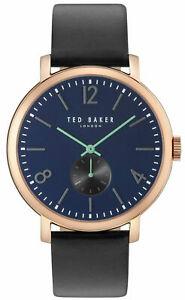 【送料無料】腕時計 テッドベーカーメンズゴールドトーンアナログスチールブラックウォッチレザーストラップローズ