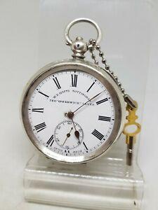 【送料無料】腕時計 アンティークソリッドシルバーポケットエンドワットノッティンガムウォッチ
