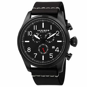 【送料無料】腕時計 スイスクロノグラフオールブラックレザーストラップウォッチ