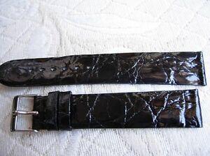 【送料無料】腕時計 ブレスレットクロコダイルノワールモントレプレート20 mm bracelet crocodile veritable noir pour montre extra plate