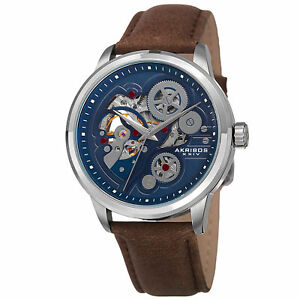 【送料無料】腕時計 スケルトンベルトウォッチmens akribos xxiv ak855ssbr skeleton automatic movement leather strap watch