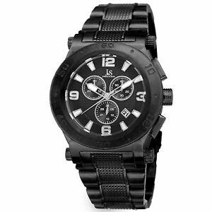 【送料無料】腕時計 メンズジョシュアクロノグラフスチールブレスレットmens joshua amp; sons jx104bk chronograph date complication steel bracelet watch