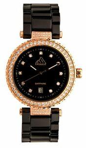 【送料無料】腕時計 エベレストセラミックウォッチサファイアガラススワロフスキーユニバースeverest womens e93026 ceramic watch sapphire glass swarovski crystalls