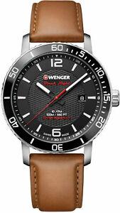 【送料無料】腕時計 ウェンガーロードスターブラックナイトスイスアナログ#ブラウンレザーウォッチ