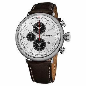 【送料無料】腕時計 ワールドタイムアラームブラウンウォッチ mens akribos xxiv ak629wt worldtime alarm brown genuine leather watch