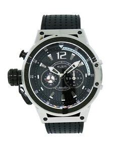 【送料無料】腕時計 メンズアナログラウンドステンレススチールレザーウォッチelgin 1863 121102 mens analog left handed round stainless steel leather watch