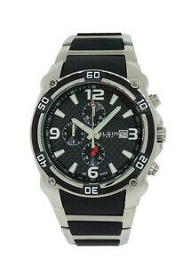 【送料無料】腕時計 メンズブラッククロノグラフステンレススチールプラスチックウォッチ