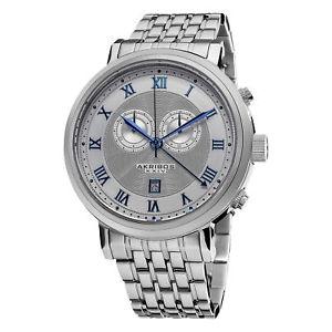 【送料無料】腕時計 スイスクロノグラフシルバートーンステンレススチールウォッチmens akribos xxiv ak590ss swiss chronograph silvertone stainless steel watch
