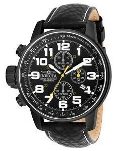 【送料無料】腕時計 メンズクロノグラフブラックレザーウォッチ