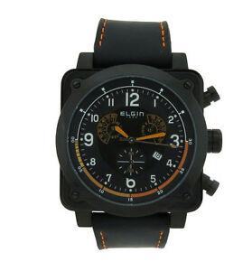 【送料無料】腕時計 メンズクッションクロノグラフステンレススチールブラックレザーウォッチ