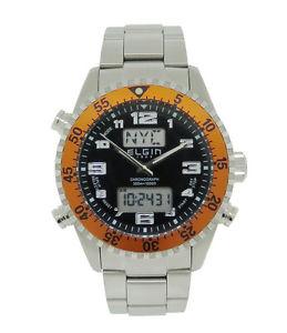 【送料無料】腕時計 メンズアナログデジタルクロノグラフステンレススチールオレンジベゼルウォッチelgin 1863 mens analog digital chronograph stainless steel orange bezel watch