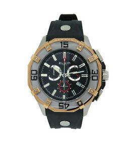 【送料無料】腕時計 メンズブラックステンレススチールアナログクロノグラフシリコンウォッチ