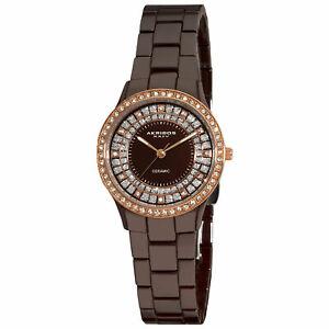 【送料無料】腕時計 #ブラウンセラミッククリスタルベゼルウォッチ women039;s akribos xxiv ak509br brown ceramic dazzling crystal bezel watch
