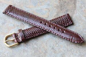 【送料無料】腕時計 padded and fully stitched oxblood 16mm genuine lizard vintage watch strap 1960s