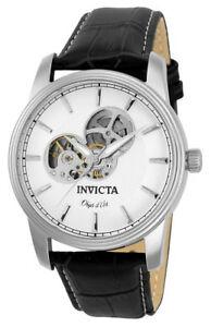 【送料無料】腕時計 オブジェメンズラウンドホワイトオートマチックブラックレザーウォッチ