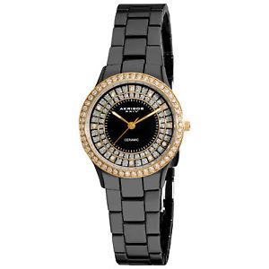 【送料無料】腕時計 クリスタルブラックセラミックベゼルウォッチ