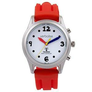 【送料無料】腕時計 ストラップマルチ red strap amp; silver radio controlled talking watch multi coloured hands
