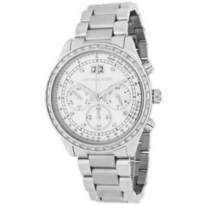 【送料無料】腕時計 ミハエル#クロノグラフシルバーストーンドルウォッチnwt michael kors women039;s brinkley chronograph silver tone watch mk6186 395