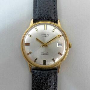 【送料無料】腕時計 ビンテージロータリージュエルvintage rotary 21 jewel automatic date adjust gold plated wristwatch in gwo