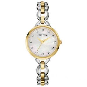 【送料無料】腕時計 レディストーンステンレススチールbulova ladies twotone stainless steel watch 98l208