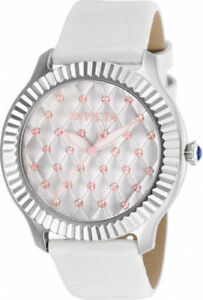 【送料無料】腕時計 #ステンレススチールホワイトレザーウォッチ25744 invicta 405mm women039;s angel 100m stainless steel white leather watch