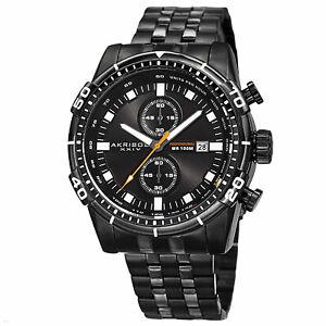 【送料無料】腕時計 ブラッククロノグラフブラックステンレススチールウォッチ