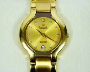 腕時計 ゴールドメッキゴールドトーンレディースレディースウオッチメーカーボックスswistar 881111l gold tone 23k gold plated ladies womens wristwatch watch wbox